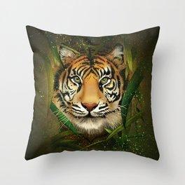 Tiger and Bamboo Throw Pillow
