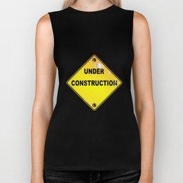 Yellow Under Construction Sign Biker Tank