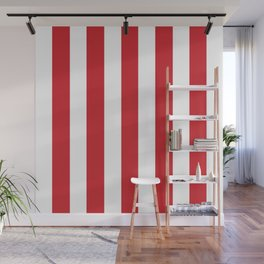 Fire engine red - solid color - white vertical lines pattern Wall Mural