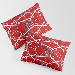 Tile #6 White-Blue Line Art on Red Pillow Sham