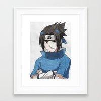 sasuke Framed Art Prints featuring Uchiha Sasuke by Jetachi