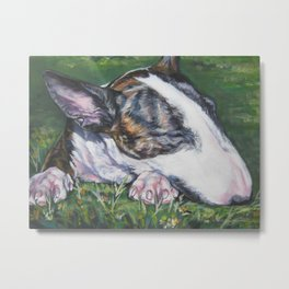Bull Terrier Dog Portrait from an original painting by L.A.Shepard Metal Print
