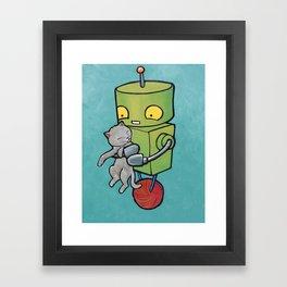 Robot - Gray Kitty! Framed Art Print