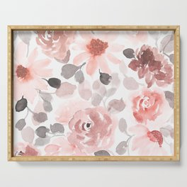 Festive, Flower Prints, Pink, Watercolor, Floral Prints Serving Tray