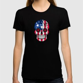 Sugar Skull with Roses and Flag of The United States T-shirt