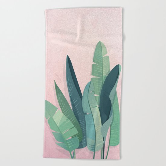 Tropical plants on pink background Beach Towel