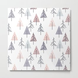 Winter geometrical pink lilac geometric trees Metal Print