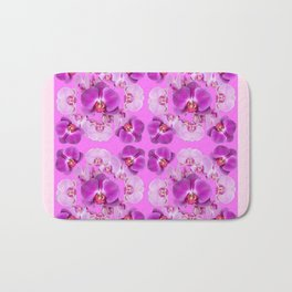 Pink Color Abstracted Modern Purple Moth Orchids Bath Mat