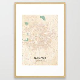 Nagpur, India - Vintage Map Framed Art Print