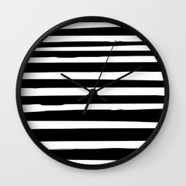 Black and White Stripes Abstract Modern Wall Clock