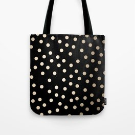 Simply Dots White Gold Sands on Midnight Black Tote Bag