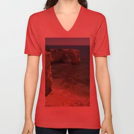A Rock arch in the cliffs, the Algarve, Portugal Unisex V-Neck