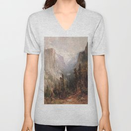 El Capitan With Clouds Rest Beyond Yosemite 1901 By Thomas Hill | Reproduction Unisex V-Neck