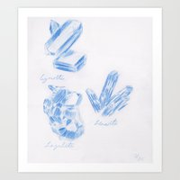 minerals Art Prints featuring Minerals - Blue by Christopher Hanna