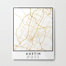 AUSTIN TEXAS CITY STREET MAP ART Metal Print