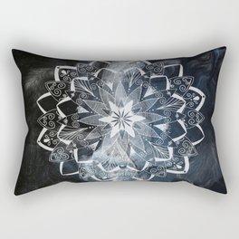 White mandala on blue Rectangular Pillow