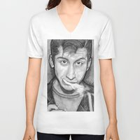 alex turner V-neck T-shirts featuring Alex Turner Drawing  by Not Too Shabby