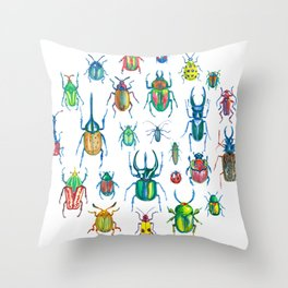 Colours of beetles Throw Pillow
