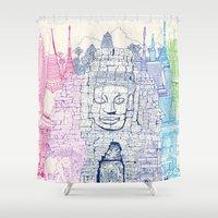 thailand Shower Curtains featuring Angkor Wat & Thailand by cheism