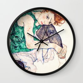 Egon Schiele - Seated Woman with Bent Knee Wall Clock