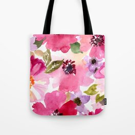Watercolor Flowers Pink Fuchsia Tote Bag