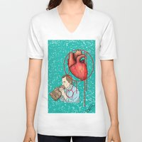 anxiety V-neck T-shirts featuring anxiety by KNDL KRKLND