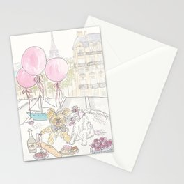 Puppy Dogs Paris Rooftop Picnic Romance Stationery Cards