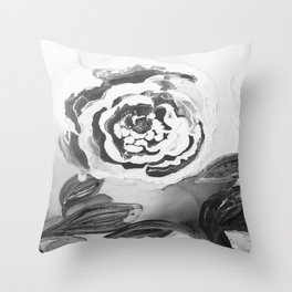 Mother's Day Roses Silver Year Black and White Throw Pillow