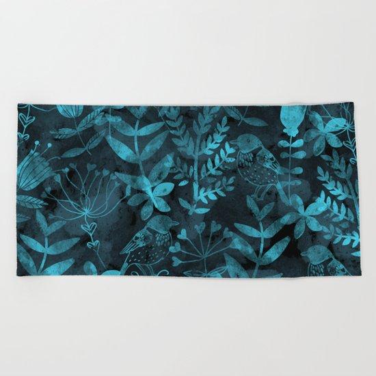 Watercolor Floral & Birds IV Beach Towel