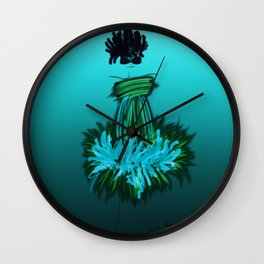 Fashion model looking chic and cool in turquoise silk dress Wall Clock