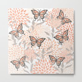 Floral and Butterflies Print, Gray, Coral, Peach Metal Print