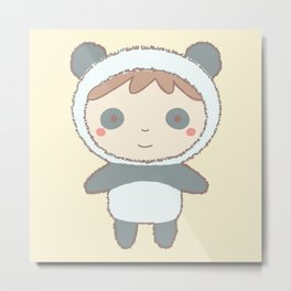Cute Panda Kid Metal Print