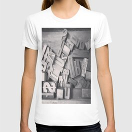 Wooden Type Letters T-shirt