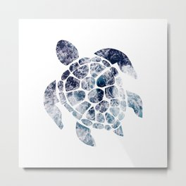Sea Turtle - Blue Ocean Waves Metal Print