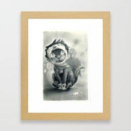 Cat with Boy Hat Framed Art Print