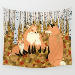 Fox family in the autumn forest Wall Tapestry