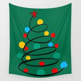 Christmas Tree Minimal Design Art Red Blue Green Wall Tapestry