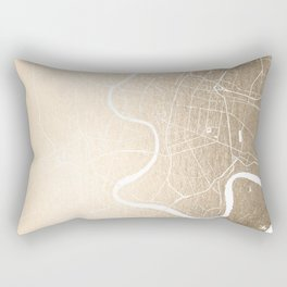 Bangkok Thailand Minimal Street Map - Gold Metallic and White III Rectangular Pillow
