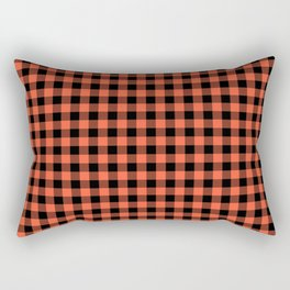 Living Coral Orange and Black Buffalo Check Plaid Rectangular Pillow
