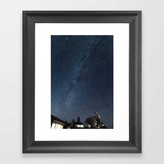 Cabin under the stars Framed Art Print