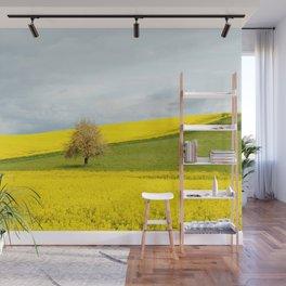 Tree in Yellow Field Wall Mural