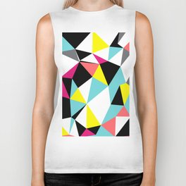Colorful bright geometrical triangles print Biker Tank