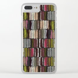 Colored Weathered Wood Board Panel Clear iPhone Case