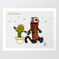 Rocket and Groot Art Print
