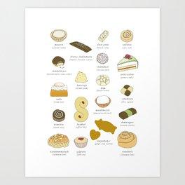 Swedish Cakes & Cookies Art Print