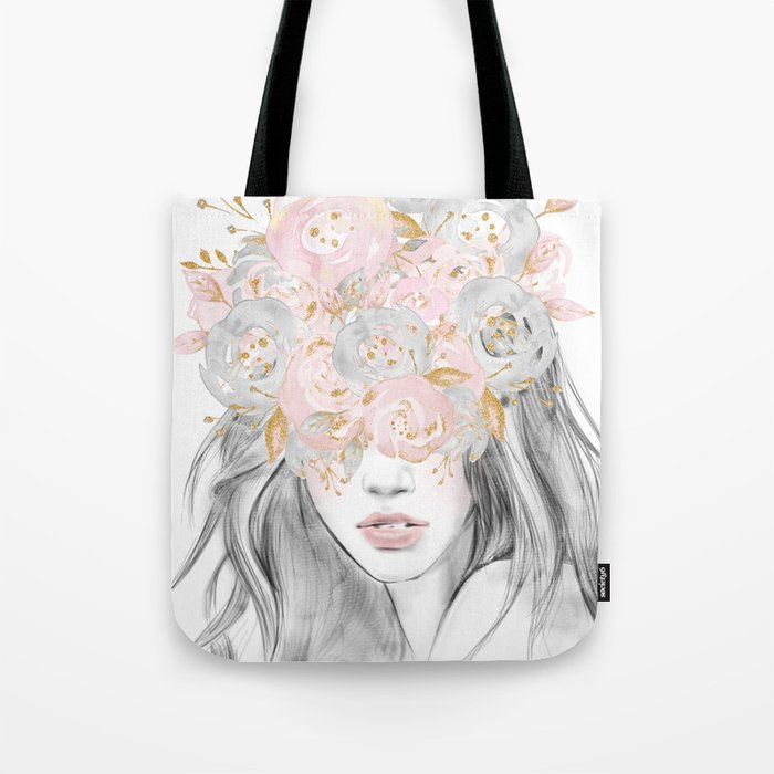 She Wore Flowers in Her Hair Rose Gold by Nature Magick Tote Bag