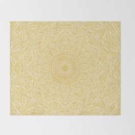 Most Detailed Mandala! Yellow Golden Color Intricate Detail Ethnic Mandalas Zentangle Maze Pattern Throw Blanket