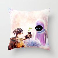 wall e Throw Pillows featuring Wall-e by p1xer