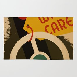 Vintage Poster Handle with care Rug