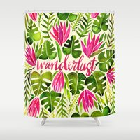 lime Shower Curtains featuring Tropical Wanderlust – Pink & Lime by Cat Coquillette